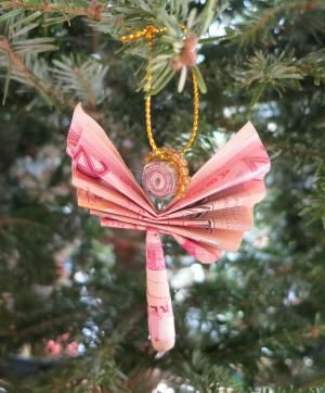 How Christmas is Celebrated in Africa: Christmas Angel, Zimbabwe (made from million dollar notes)