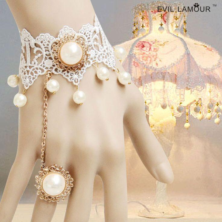 Королевская принцесса лолита браслет Винтаж невеста и подружки невесты белое кружево браслет с ер ен ос один кусок цепи свадебные аксессуары