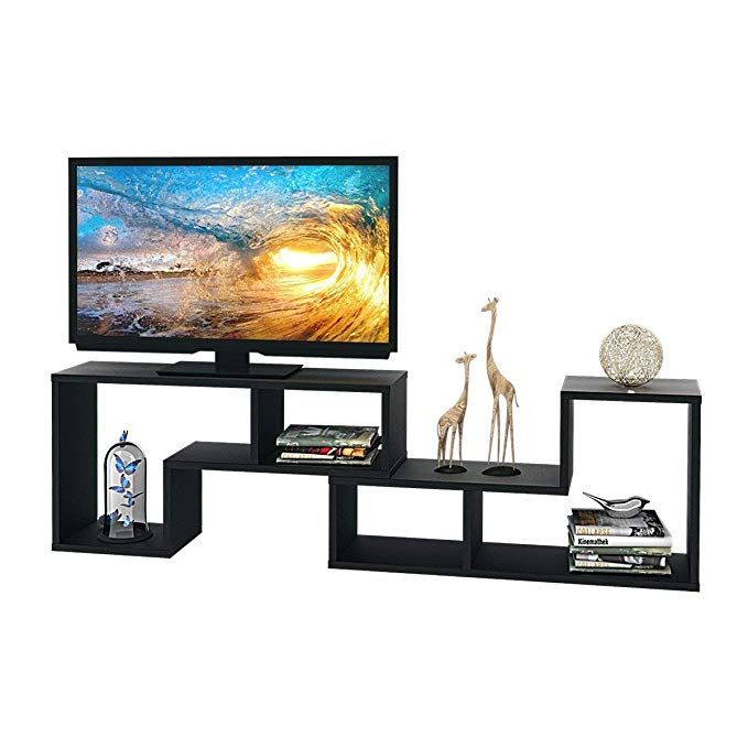 Devaise Wood Tv Stand Storage Console L Shaped Bookcase Bookshelf