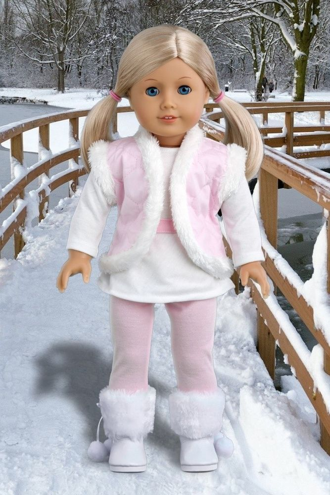 Snowflake - Winter Outfit, Leggings,  Long Tunic, Vest & Boots for 18 inch Doll #DreamWorldCollections
