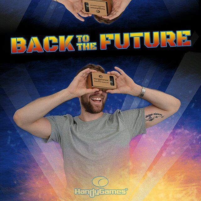 An awesome Virtual Reality pic! We are still waiting for the hoverboards self-tying shoelaces and flying cars but we are proud to be making great improvements in VR-Gaming! #sharkattack By the way if anyone sees Marty Mcfly let us know ;)! #BTTF #backtothefuture #happybacktothefutureday  #happybacktothefuture #timetravel #martymcfly #vr #gaming #man #retro #cinema #classic #handygames #virtualreality #beard #proud by handygames check us out: http://bit.ly/1KyLetq