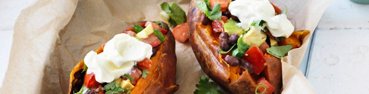 Baked sweet potato with black bean salsa recipe from WW freshbox