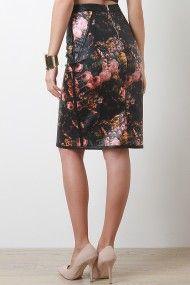 Multicolor Faux Leather Floral Midi Skirt @ Urban Originals $35