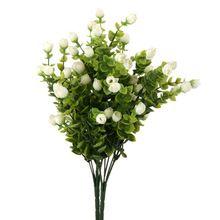 2 гроздья 6-филиал Искусственный Эвкалипт Завод Цветы Домашний Декор Свадебные Украшения Искусственные Цветы (Белые)(China (Mainland))