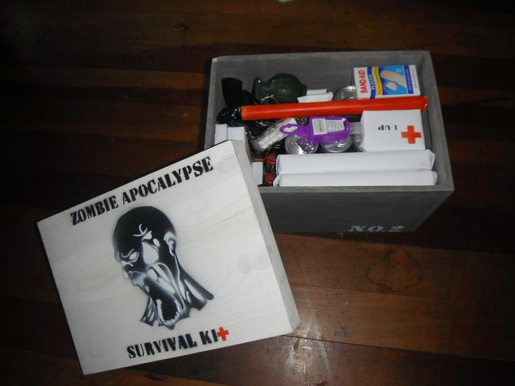 A Zombie survival kit I made for my cousins 21st. Twinkies and all.