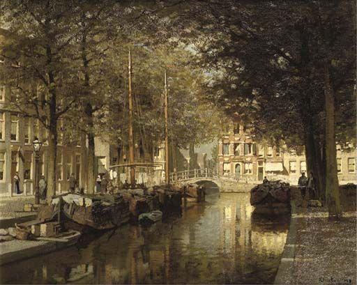 De Nieuwe Uitleg en het Smidswater met in de verte de Hooigracht - Johannes Christiaan Karel Klinkenberg (1852-1924).