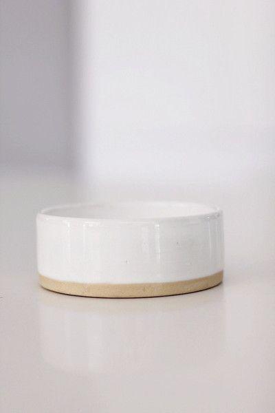 Benji + Moon | Small Ceramic Pet Cat Dog Bowl White