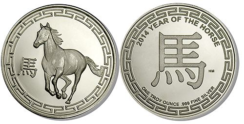 Silver Bullion Year of the Horse Rounds Minted in Pure Silver  Year of the Horse Silver Rounds are 1 Troy Ounce of fine Silver, making then a perfect way to take advantage of the current Silver price. Each coin contains a hallmark stamped on it to guarantee its weight and purities. Year of the Horse Silver Rounds carry some of the lowest premiums over the spot price of Silver, which makes them very easy to  sell, trade, or barter with, anywhere in the world.