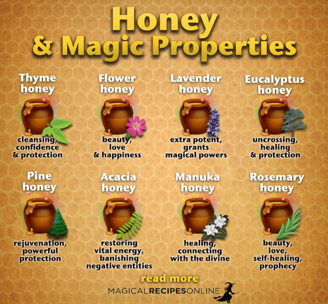 honey magical properties, thyme honey, flower honey, lavender honey, eucalyptus honey, pine honey, acacia honey, rosemary honey, manuka honey