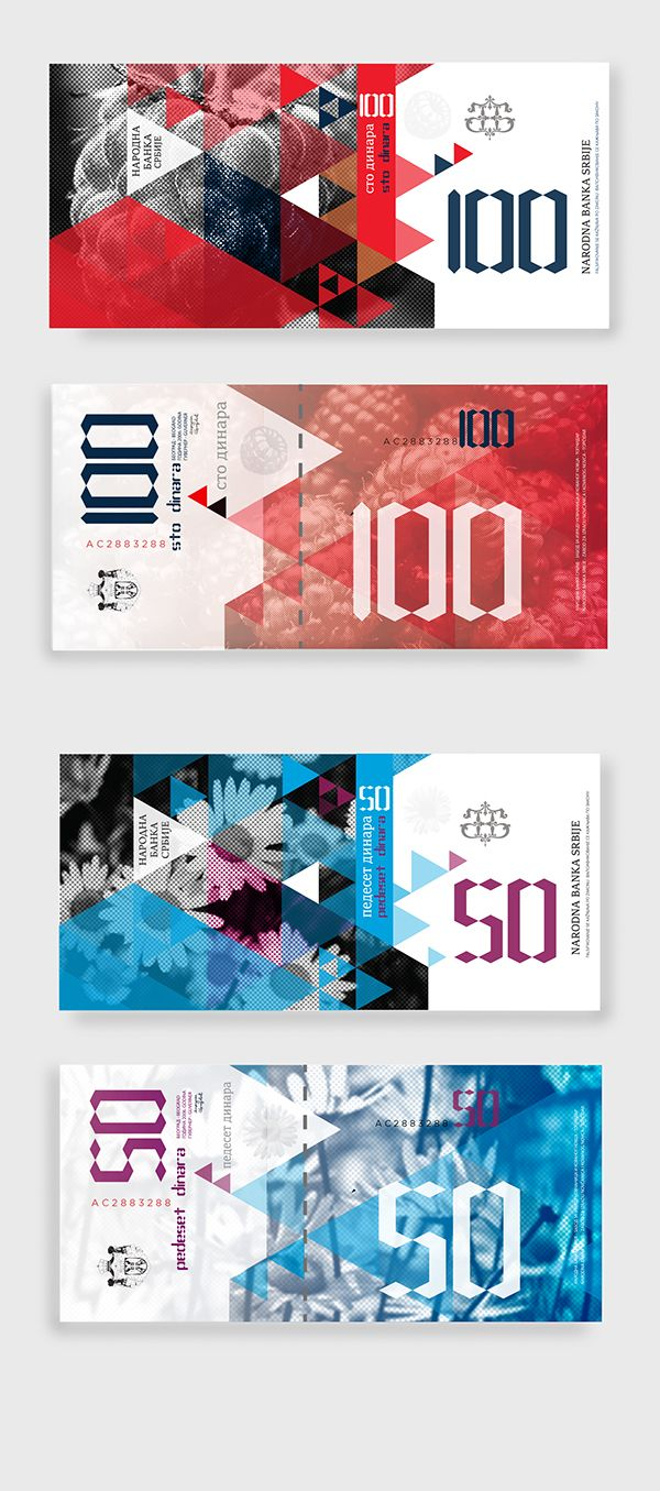 Student project: Serbian banknotes with motives  traditional fruit and flower.