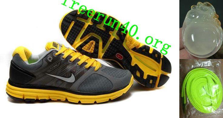 Mens Nike Lunarglide 2 Gray Yellow Shoes