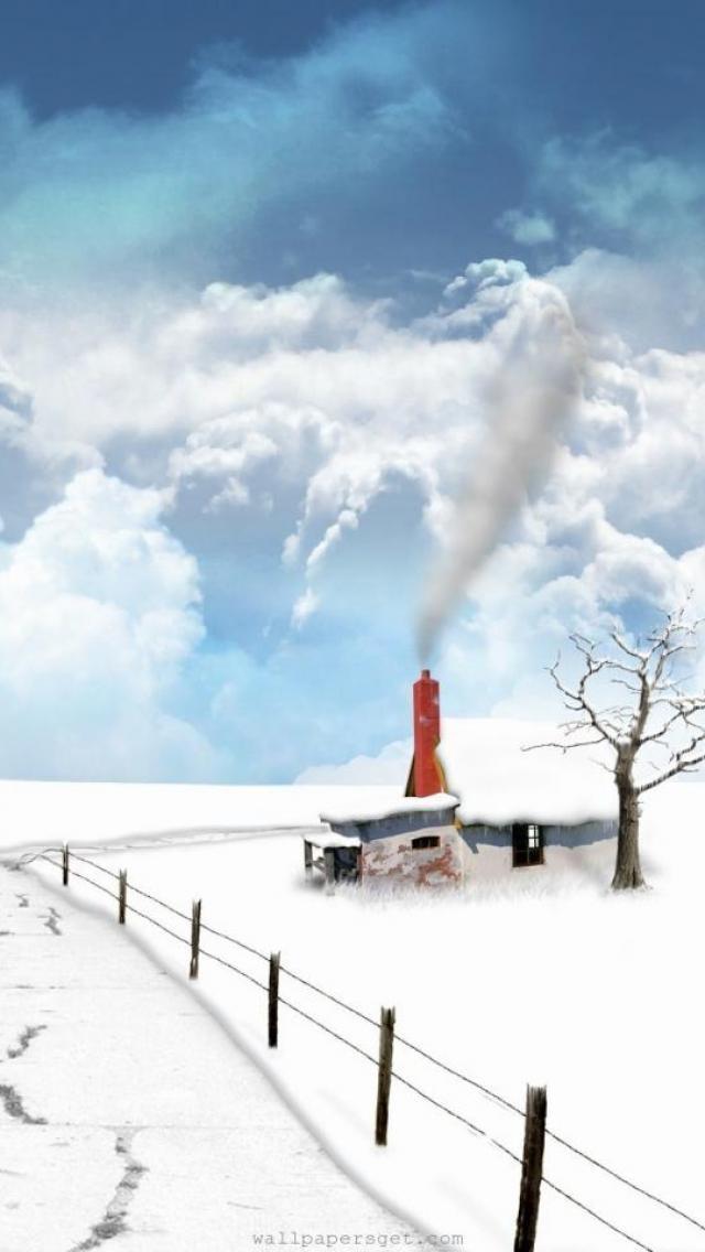 Landscape, fantasy, Snow, paths, houses, Yantai, tree