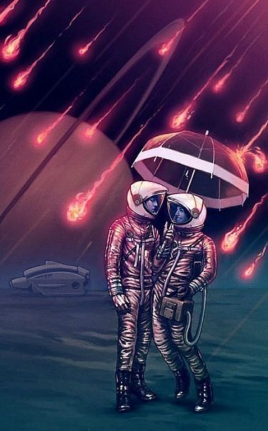 Whimsy: Spacesuits with umbrella in meteor shower.