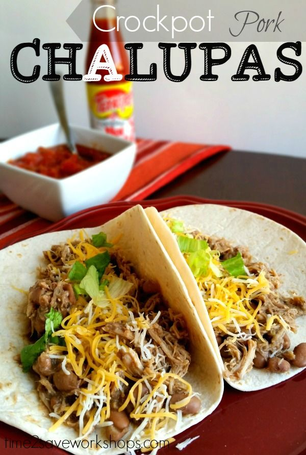 Crockpot Pork Chalupas recipe - great way to feed a big crowd a DELICIOUS meal on a little budget!