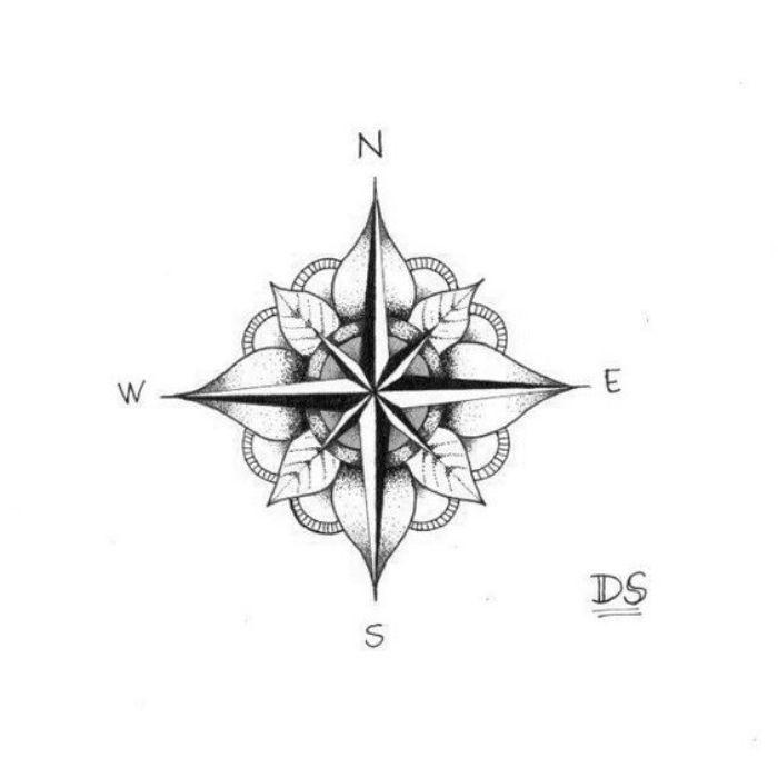 blumen, weiße blätter und ein kleiner schwarzer kompass  idee für einen klein… – Lilia Timko