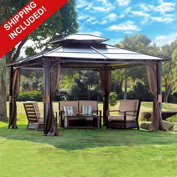 10 X 12 Hardtop Metal Steel Roof Outdoor Patio Gazebo Aluminum Poles  Mosquito