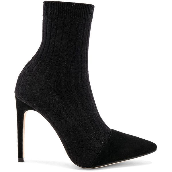 RAYE Collins Sock Bootie ($145) ❤ liked on Polyvore featuring shoes, boots, ankle booties, pull on boots, leather sole boots, high heel boots, slip on boots and slipon boots