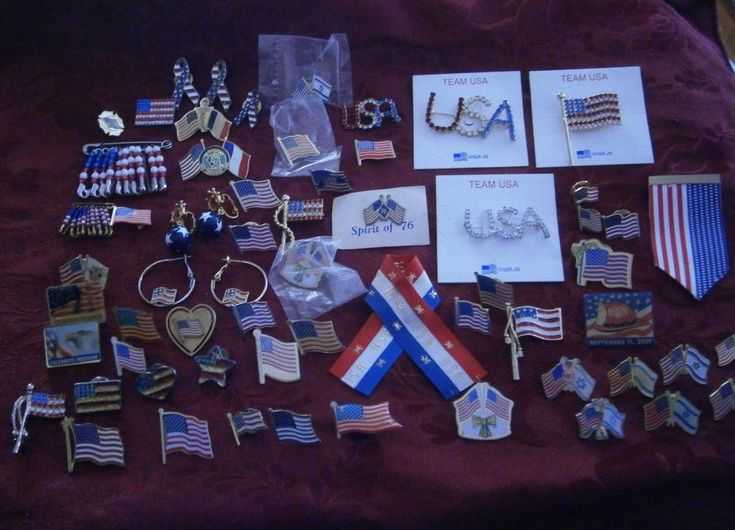 40+ VINTAGE- NOW USA FLAG PATROTIC  HAT LAPEL PIN LOT EARRINGS RHINESTONE BROOCH