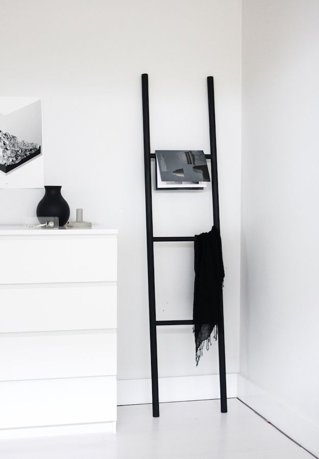 Black and White | Chic and Cozy Ways To Style A Ladder Blanket Rack