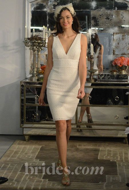 watters encore v neck short wedding dress fall 2013. This is so Linda!