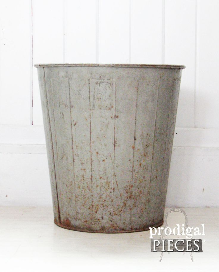 Vintage Industrial School Factory Waste Basket Trash Can ~ Eclectic Retro Modern Decor by ProdigalPieces on Etsy www.prodigalpieces.com #prodigalpieces
