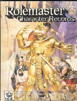 Product Line: Rolemaster  Product Edition: RM2  Product Name: Rolemaster Character Records  Product Type: Play Aid  Author: ICE  Stock #: 1002  ISBN: 1-55806-137-1  Publisher: ICE  Cover Price: $12.00  Page Count: 144  Format: Softcover  Release Date: 1990  Language: English