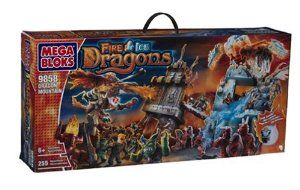 """Mega Bloks Fire Ice Dragon Mountain (9858) by Mega Bloks. $87.95. Perfect set for medieval battle fights. Recommended for ages 8 years and older. Features 2 dragons with multiple weapons. Also features an avalanche trap, working rail system with collapsing bridge and a cannon harness and much more. Contains 255 pieces total. Amazon.com When a battle takes place somewhere with the name """"Dragon Mountain"""", you can be confident that the fighting will be anything bu..."""
