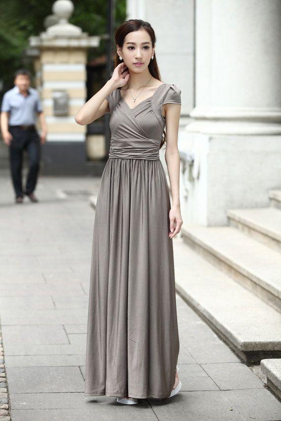 Silver Grey Cap Sleeve Formal maternity dress Summer Long