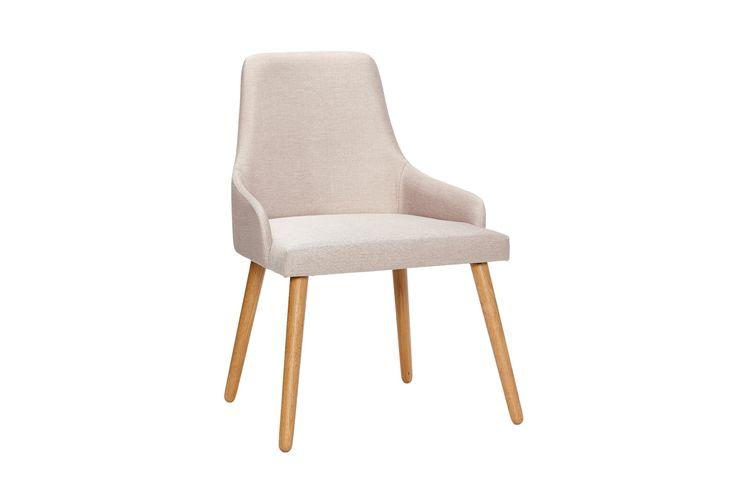 Stilfuld stol i lysegråt stof fra Hubsch