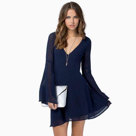Solid V-Neck A-Line Silhouette Empire Waistline Full Sleeve Mini Dresses - 3 Colors