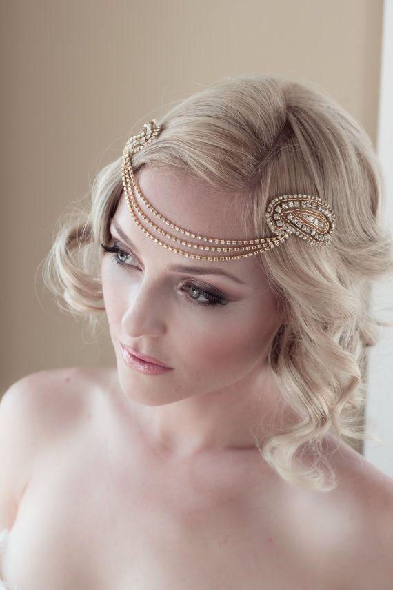 Art Deco Bridal Headpiece with Vintage Gold Rhinestone Halo, Seed Bead Leaf Headdress, Bridal Hair Comb Style: Jordan #1408