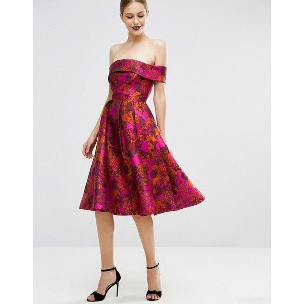 ASOS Floral Jacquard Bardot Prom Dress (€120) ❤ liked on Polyvore featuring dresses, pink, flared skirt, pink off the shoulder dress, off the shoulder floral dress, pink skater skirt and circle skirt