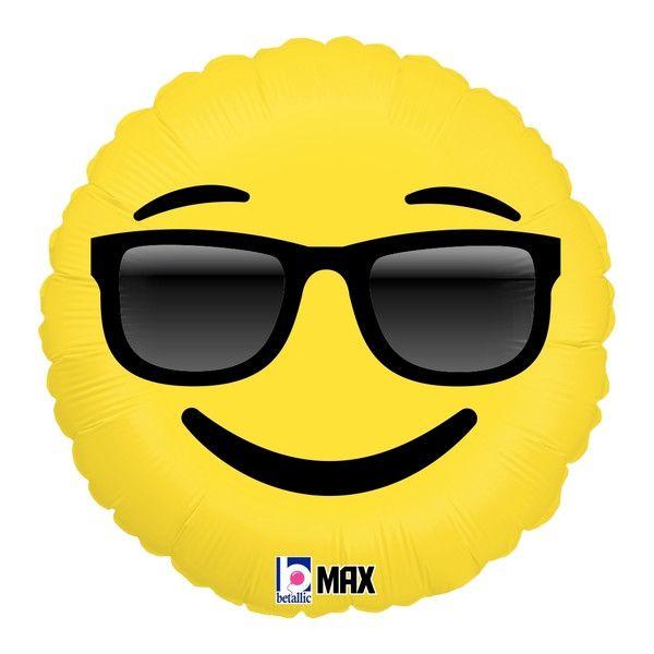 "Cool Sunglasses Emoji Balloon - 18"" Foil Mylar"