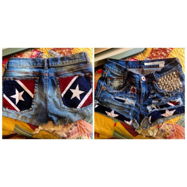 Rebel Flag Cutoff Denim Shorts. Stars Stripes Camo Southern Hunting Mudding Music Festival But without the studs