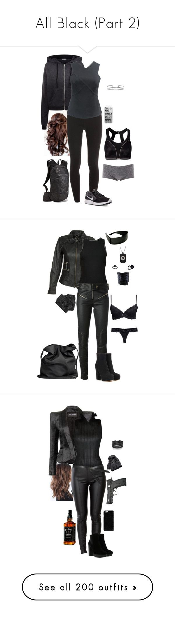 """""""All Black (Part 2)"""" by gone-girl ❤ liked on Polyvore featuring Wildfox, Splendid, Boohoo, NIKE, Shock Absorber, Old Navy, Casetify, Charlotte Russe, Harley-Davidson and Christopher Kane"""