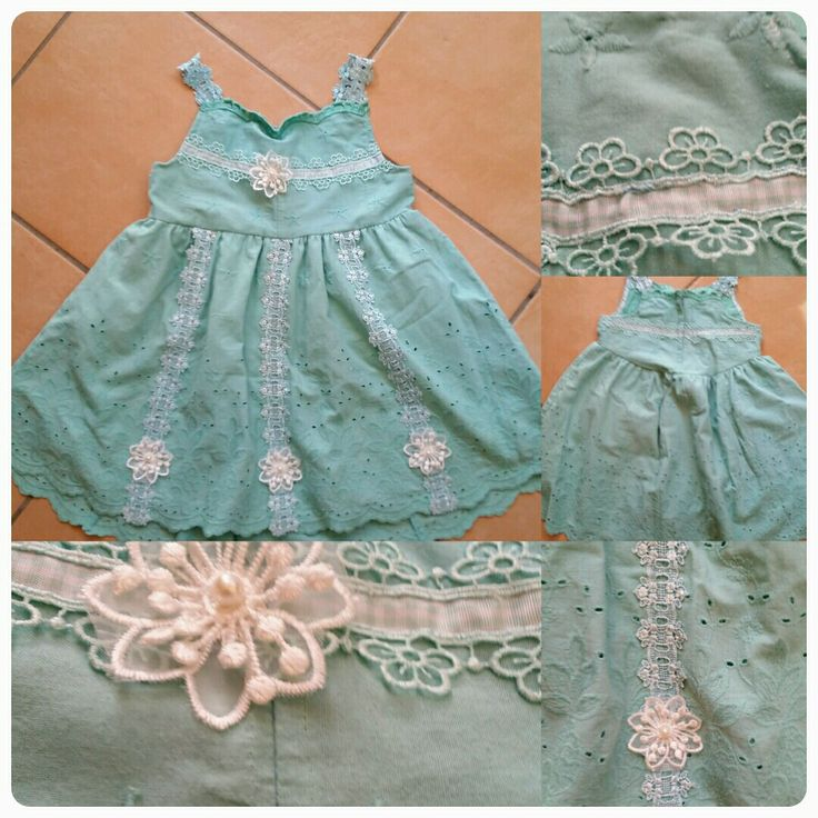Gorgeous icecream green vintage fabric dress with venutian lace and ribbon trims and embroidered  organza  flowers..  Listed in Etsy Inquiries Welcome