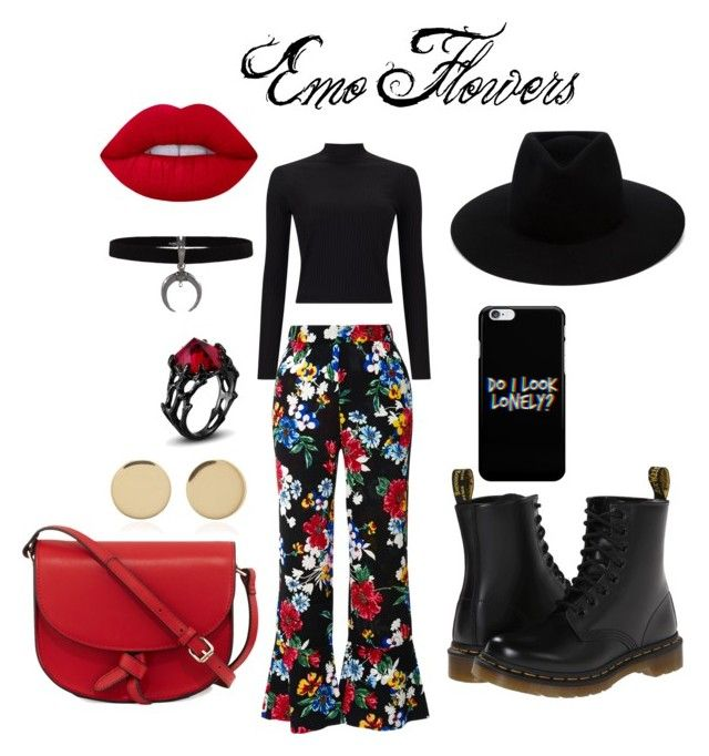 """Emo Flowers"" by matilda-key on Polyvore featuring Miss Selfridge, Dr. Martens, rag & bone, Piamita, KC Jagger, Magdalena Frackowiak and Lime Crime"