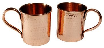 Pure Copper Hammered mugs - set of 2 - 14 oz traditional-cocktail-glasses