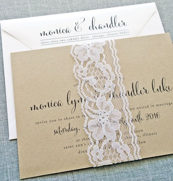 Monica Calligraphy Script Recycled Kraft Wedding Invitation Sample with White Lace Ribbon Belly Band on Etsy, $5.46 AUD