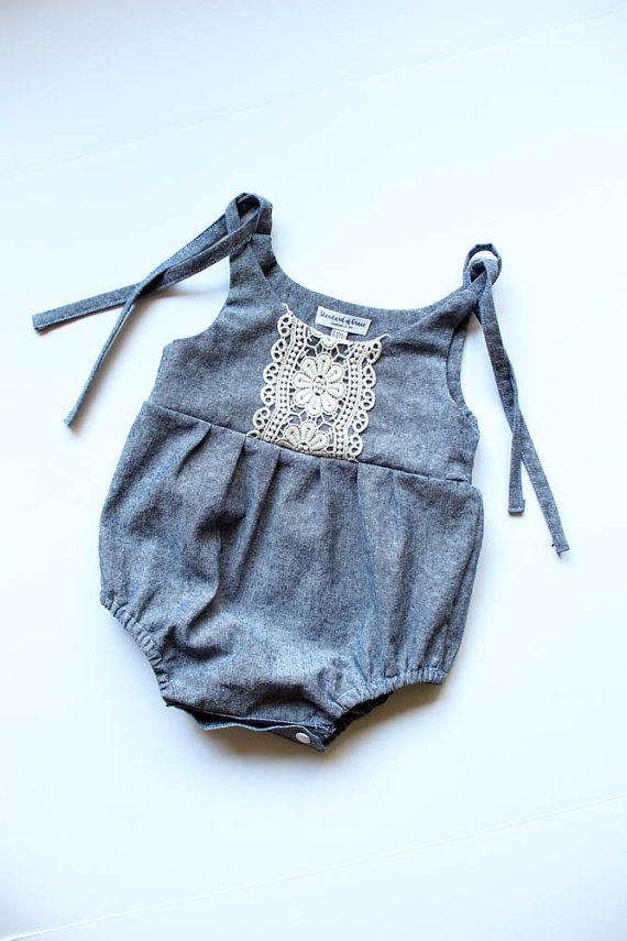 Linen & Lace romper/jumpsuit-denim blue romper/jumpsuit linen