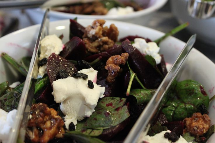 Roasted Beetroot with Goats Cheese, Spinach and Candied Walnuts