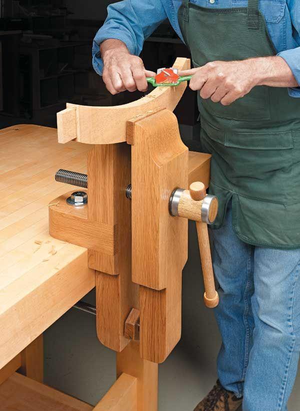 Shop-Made Workbench Vise   GREAT IDEA !  I SHOULD MAKE ONE ..