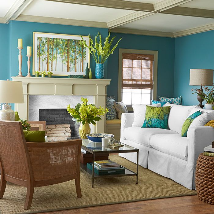 This bold palette unearths the color power of sky, water, soil, sand, and trees to create a look that's naturally fresh. Paint the walls the color of blue skies and sparkling waters. Let light, creamy colors in the ceiling and trim float like clouds. Wood tones rise up from below, mimicking trees. Tip: If you're not sure you can live with a bold color on an entire wall, try it first in pillows or other accessories that can be switched out easily.