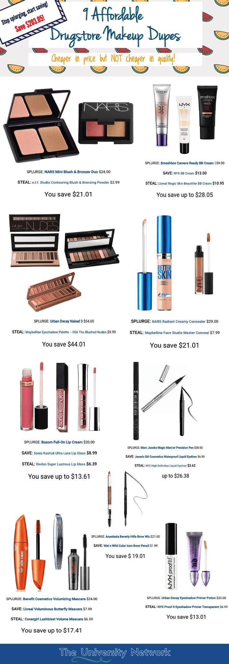 "Makeup can get really expensive… Thankfully, there are more affordable drugstore alternatives to these ""designer"" makeup brands for those of us not willing to splurge on cosmetics. And you can rest assured– while they are cheaper in price, they are not cheaper in quality!"