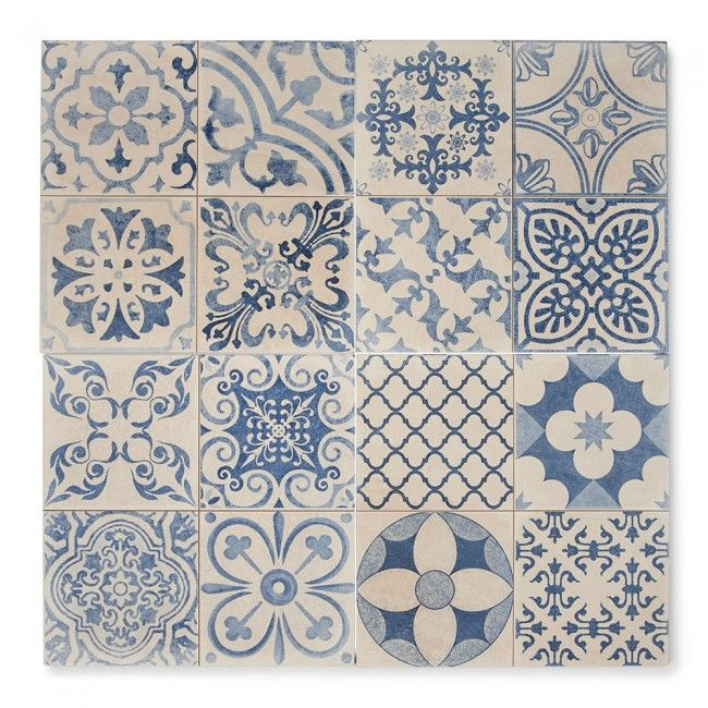Tangier Blue Patterned Bathroom Tiles Patterned Wall Tiles