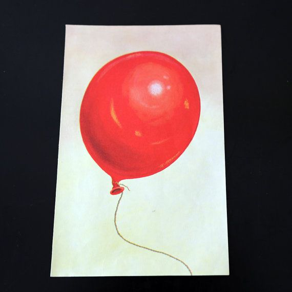 Red Balloon  Vintage Ladybird Book Page by twicedesigns on Etsy