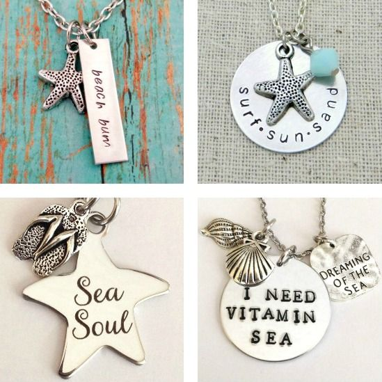 Hand Stamped Beach Necklaces... http://www.beachblissdesigns.com/2016/09/hand-stamped-beach-necklace-quote-charms.html Keep the beach close to your heart!