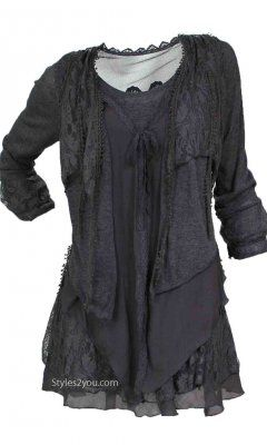 Pretty Angel Clothing Layered Vintage Blouse In Gray at Styles2you.com. More colors available.