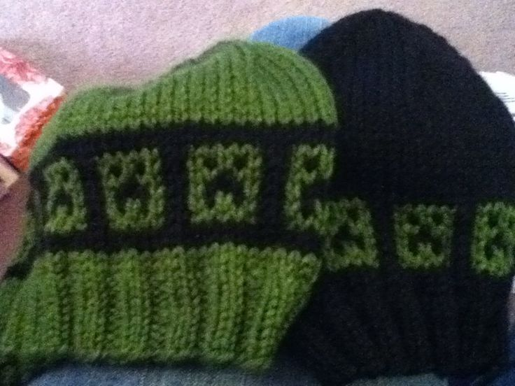 Free knitting pattern for boys mincraft hats