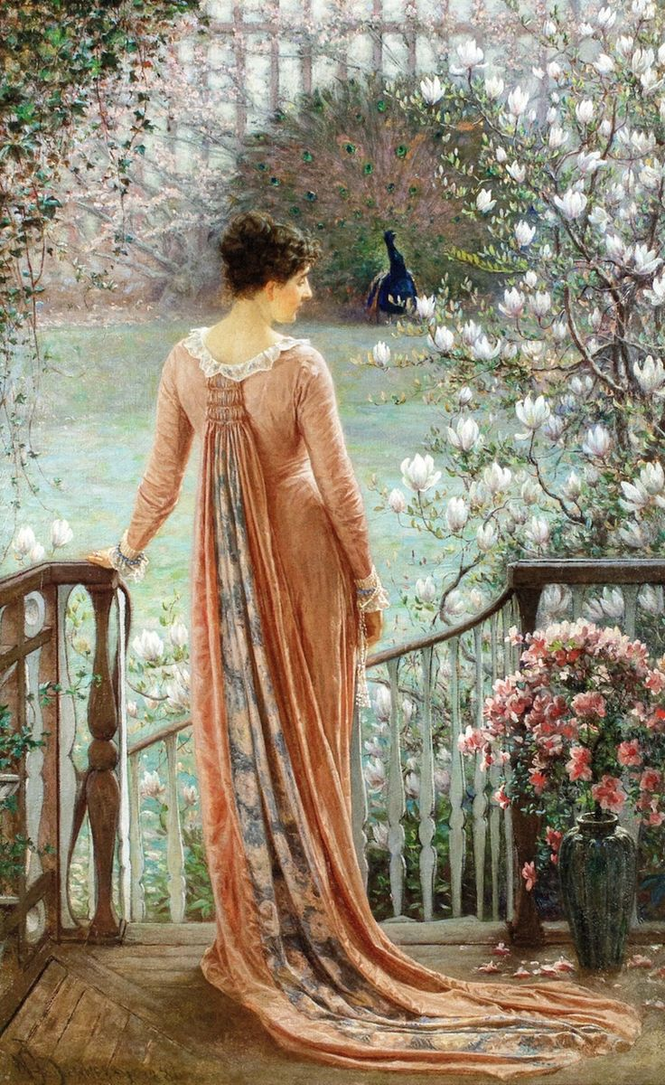 ⊰ Posing with Posies ⊱ paintings of women and flowers - The Athenaeum - A Spring Fantasy (William John Hennessy)